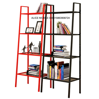 Ladder Shaped Wall Mounted 3 Piece Bookshelf Leaning With Laptop