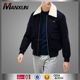 Wholesale Cheap Men's Wool jacket With White Faux Fur Collar Parka Jacket Male Wadded Winter Warm Coat