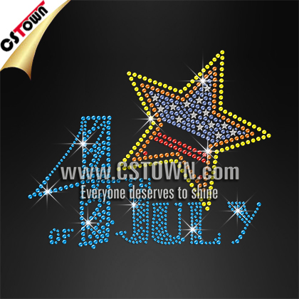 4th of July shining star custom wholesale hotfix rhinestones latest design for clothes