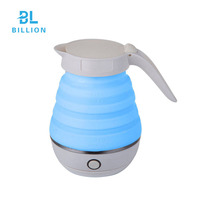 CB CE Mini Blue Color Wireless Silicon Material Electric Portable Folding Travel Kettle Hot Sale