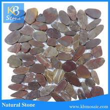 Natural Red river pebble round mosaic floor tiles