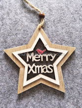 Wooden xmas decor hang star tree bell laser cut painted with wording let it snow