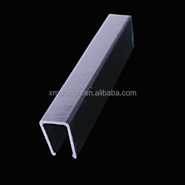 10 mm en forme de u canal en plastique noir en pvc profil de protection en verre bord profil s. Black Bedroom Furniture Sets. Home Design Ideas