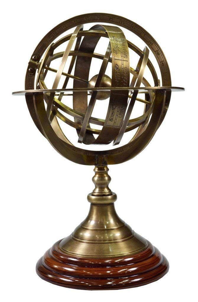 Antique Brass Armillary With Wooden Base Vintage World Sphere Globe E