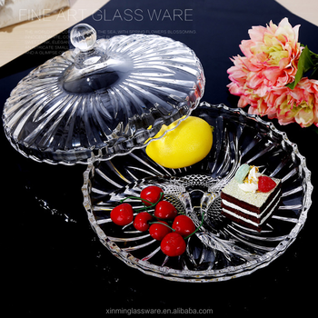 Falaja Divided Glass Fruit Plate Dry Fruit Tray Plate With Lid Buy Dry
