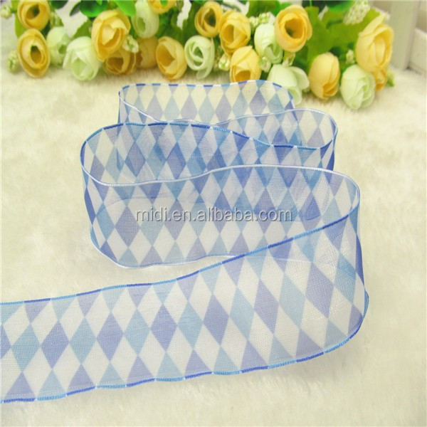 Newly design 1.5inch Heart transfer Print Organza Ribbon print Diamond square picture for grament