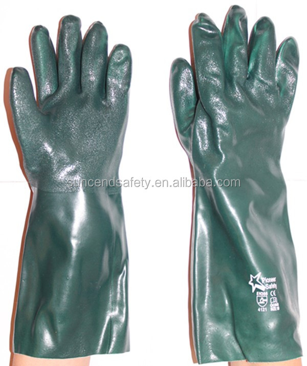 green sandy PVC cotton work gloves manufacturer