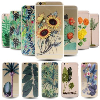 Palm Trees Cactus Sunflowers Plant Soft TPU Clear Case For iPhone 6 6s 4.7 Inch