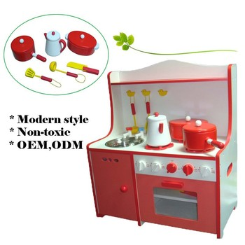 Mdf Red Kids Pretend Play Wooden Toy Kitchen With Cooking Set ...