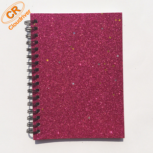 Customized A6 Spiral Binding Shiny Glitter Notebook For Promotion