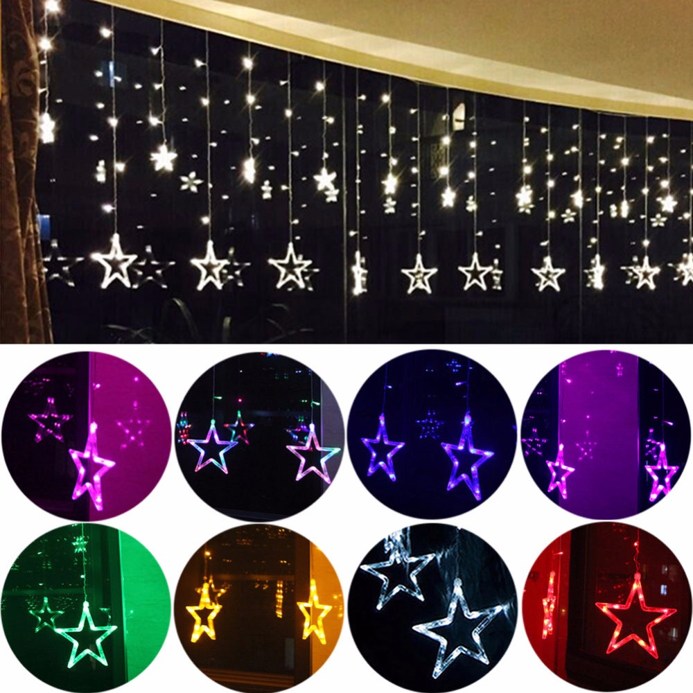 2M 138LED Curtain Window Star String Fairy Light Wedding Party Christmas Decorrproof outdoor christmas deceration warm white