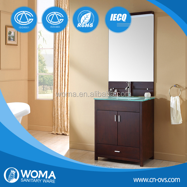 new design modern tempered glass solid wood bathroom vanity from WOMA Sanitary Ware 3110