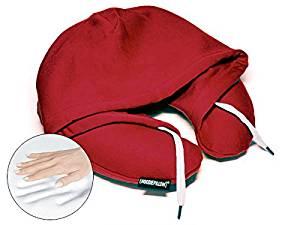HoodiePillow Brand Memory Foam Hooded Travel Pillow - Burgundy