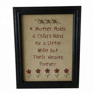Mother gift Wall Mounted Hanging Decor Art Primitive Vintage Hearts Forever You Still Stitchery Frame