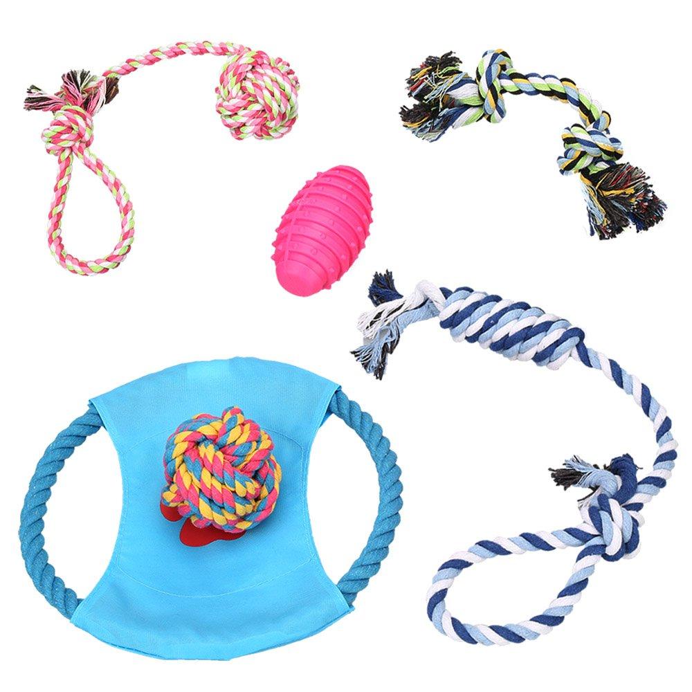 Dog Chew Toys - Puppy Chew Tug Toys - Dog Toy Set - Rope Dog Toy - Medium and Small Dog Chew Toys - Chew Toys for Dogs - Teeth Cleaning Toys for Dogs(set of 6)