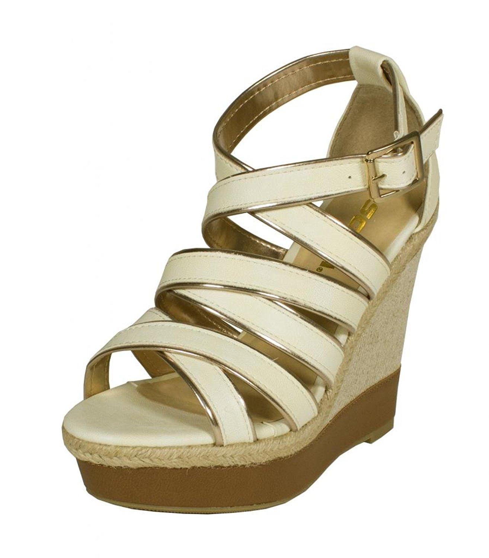64b8aa85962 Soda Strappy Open Toe Leatherette Strip Woven Espadrille Wedge Sandal Off  White Leatherette