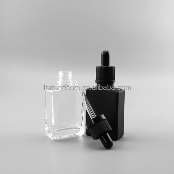 1oz clear flat square glass dropper bottle 30 ml rectangular glass eliquid dropper bottles