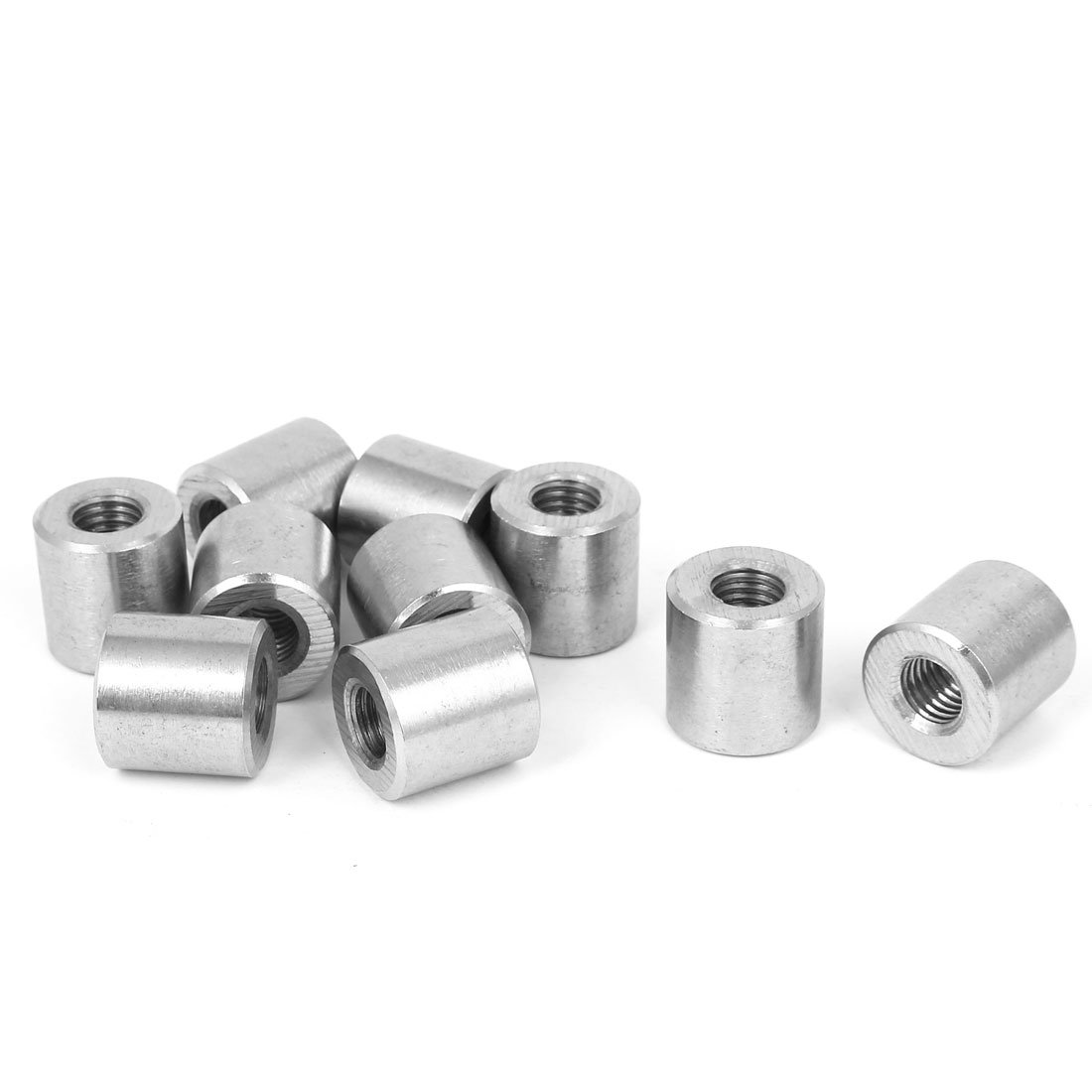 uxcell M12 x 1.75mm Threaded Insert Rose Joint Tube Adapter Round Connector Nuts 10pcs
