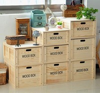 Natural Style Furniture Organization Box Wood Storage Cabinet