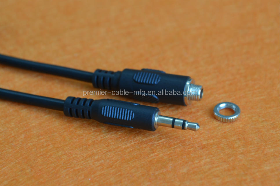3.5mm Jack Plug to Socket Panel Chassis Mount Cable - Extension Audio Lead