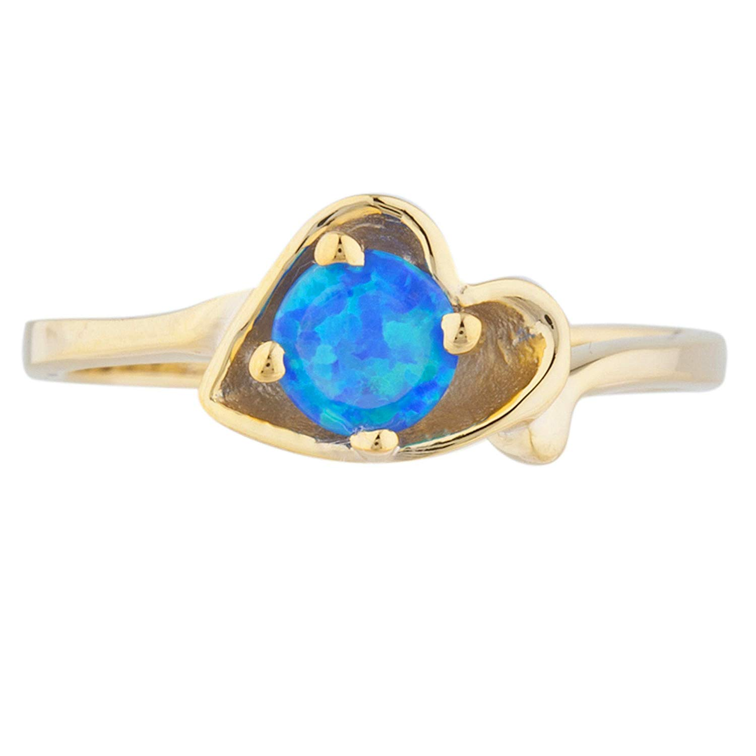 Blue Opal Round Heart Shape Ring 14Kt Yellow Gold Plated Over .925 Sterling Silver