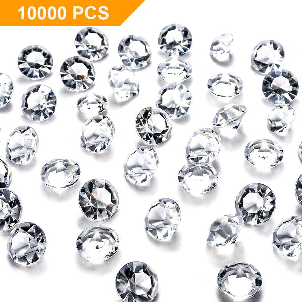 FuturePlusX 10000PCS 4.5mm 1/3 Carat Clear Acrylic Crystal Diamond, Wedding Table Scatter Confetti Crystals Vase Beads for Vase Filler Home Wedding Party Decoration