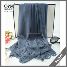 Various color lace trim pearl chiffon wholesale scarves
