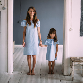 a30a9729d1b Mother Daughter Matching Dress Mommy And Me Off Shoulder Top Girl Blue Dress  Frill Girl