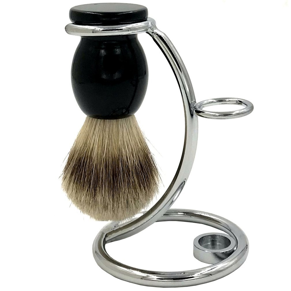 SANWA Pure Genuine Badger Hair Shaving brush With Perfect Chrome Shaving Stand/Safety Razor Stand/Shaving Brush Stand Holder for Shave Brush & Double Edge Safety Razor