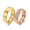 Fashion Gold Stainless Steel Custom CZ Zircon Ring For Women And Men