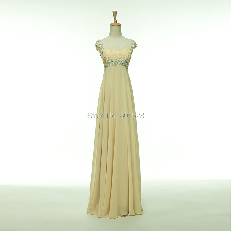 Elegant Cheap Cap Sleeves Sweetheart Chiffon Champagne Long Prom Dresses 2015 New Formal Evening Party Dress Gown Fashion Custom