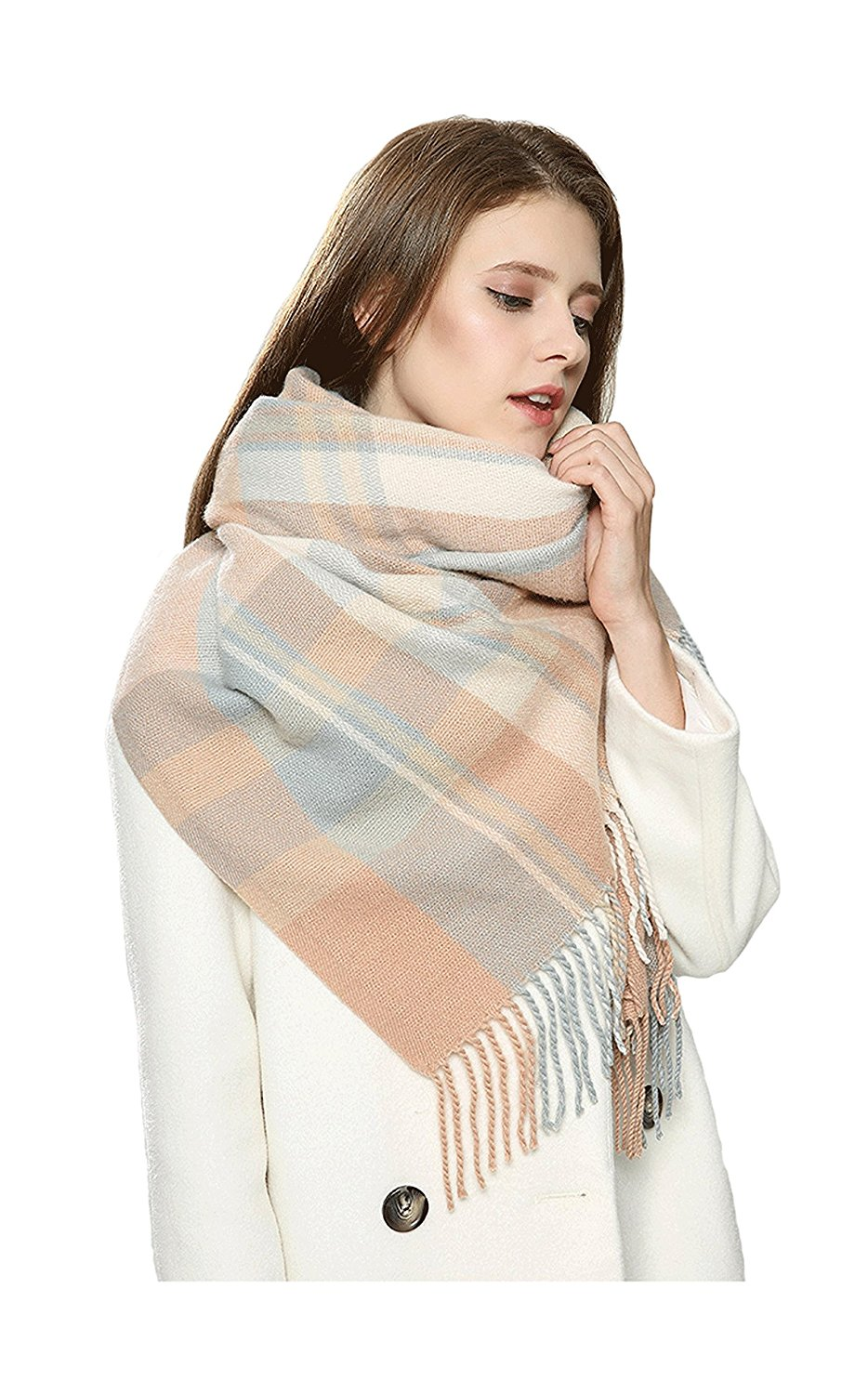 23cce894a2f0e Get Quotations · Blanket Scarf Plaid Vintage Navy Blue Serape Poncho Blanket  Scarf Tartan Multi Color Scarf-One