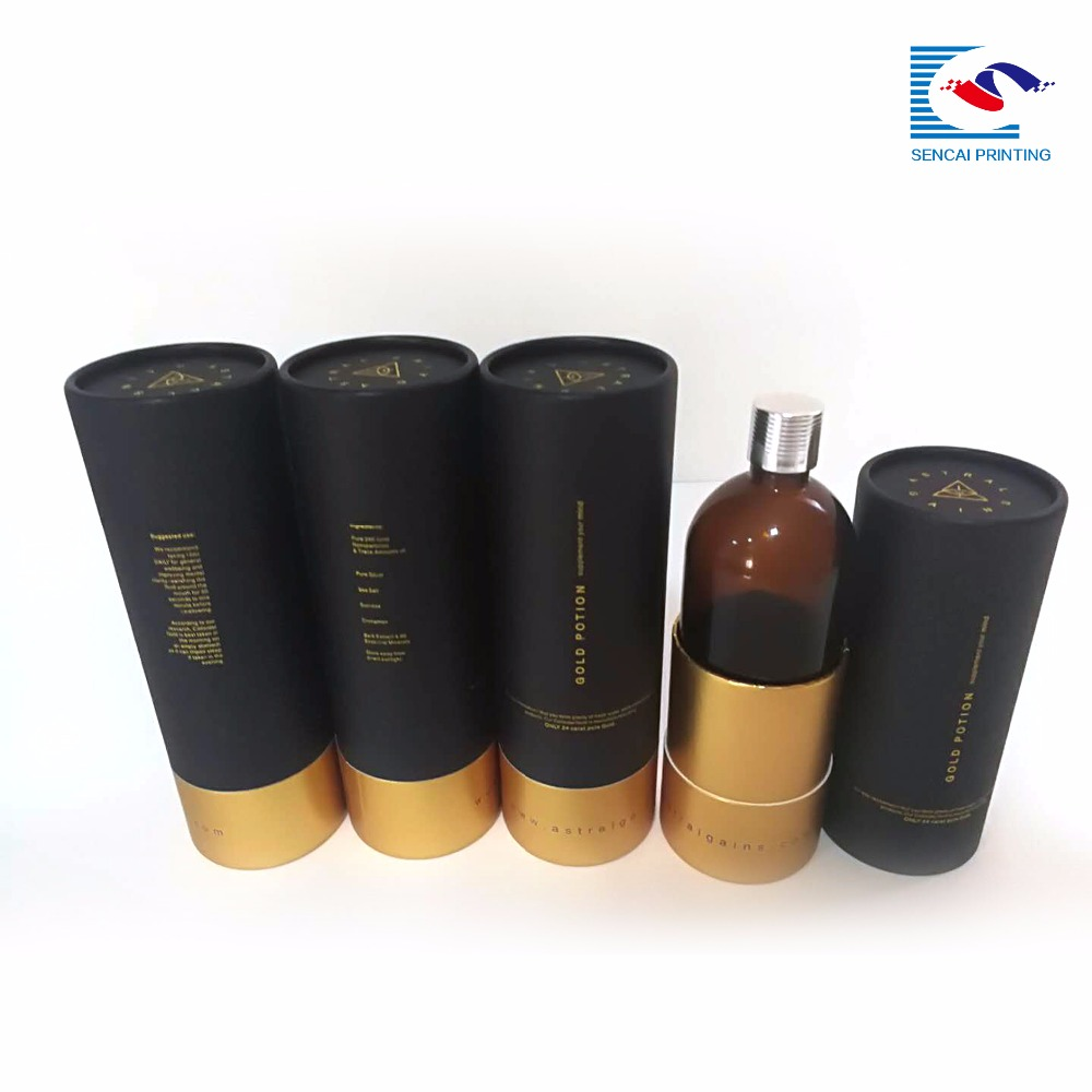 Custom Luxury Cylindrical Organic Cosmetic Packaging Paper Round Boxes
