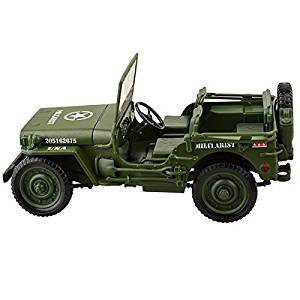 U-Mest® Willys WWII Tactical Jeep 1/18 camouflage Die Cast Military US Army Vehicle Model Car Army Green