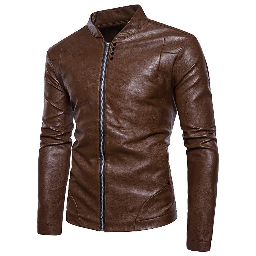 Mens Biker Jacket,Hipster Males Boys Imitation Leather Zipper Slim Fit Motorcycle Bomber Jacket Zulmaliu
