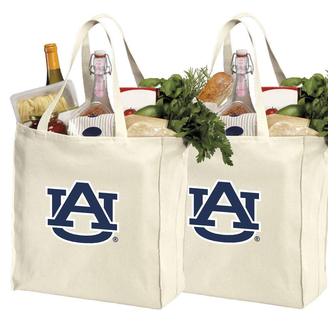 67d7b688da Reusable Auburn University Shopping Bags or Auburn Tigers Grocery Bag 2Pc  SET NATURAL COTTON