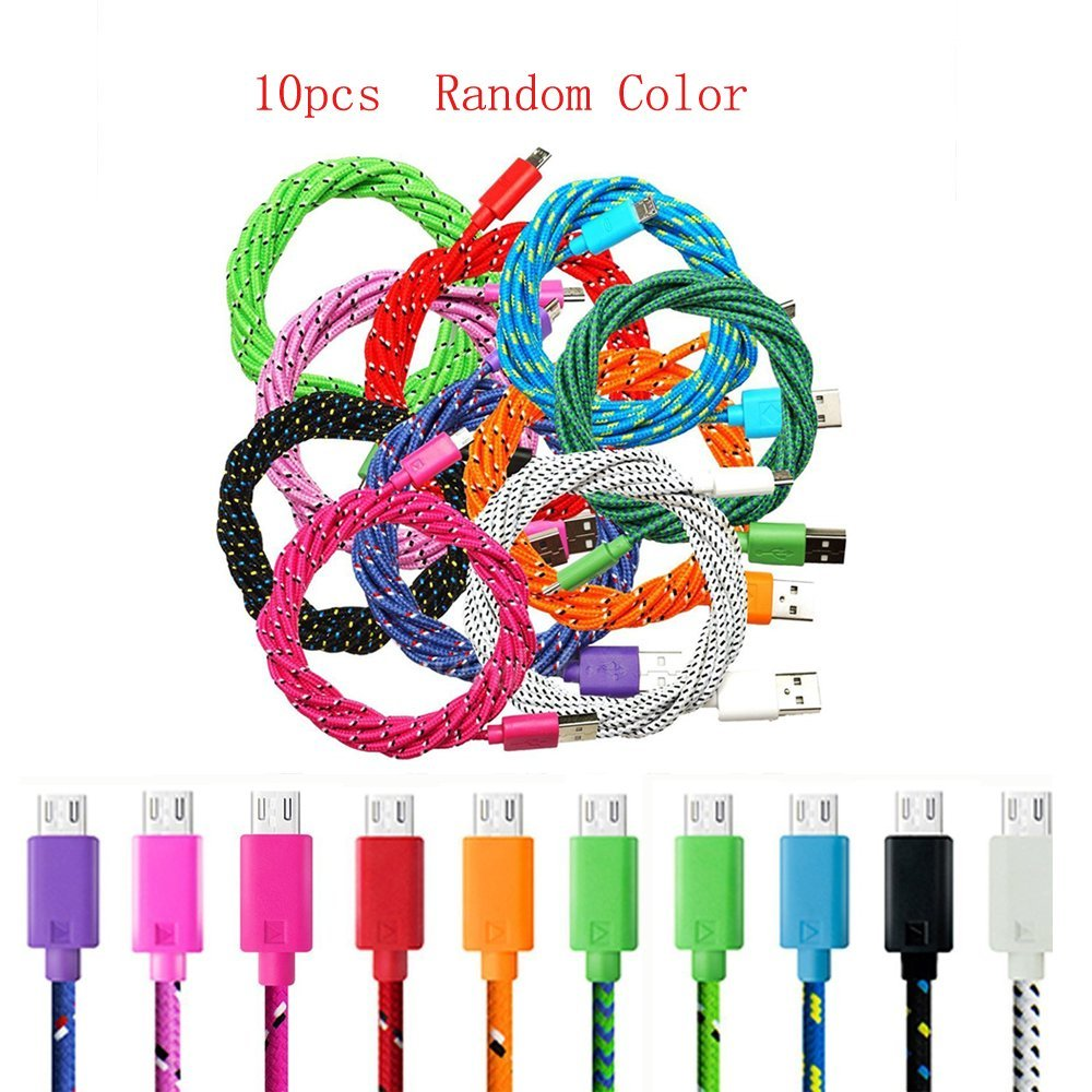 LADEY 10PCS Universal Micro USB 3M 10FT Fabric Braided Data Cable Micro USB 2.0 Data Sync Cable Charging Cord for Android Phones,Samsung Galaxy S6 Edge Plus/Note 5,HTC,LG and More(10PCS Random Color)