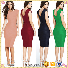Elegant Women Wedding Party Sexy Low V Back Stripe Stretchy Bandage Bodycon Retro Rockabilly Casual Pencil Dress