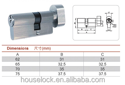 Manufacturer Euro Style Fire Proof Brass Thumb Turn Cylinder With Knob Turn Confirm To