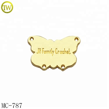 Gold plated garment accessories metal tag metal logo labels for decoration