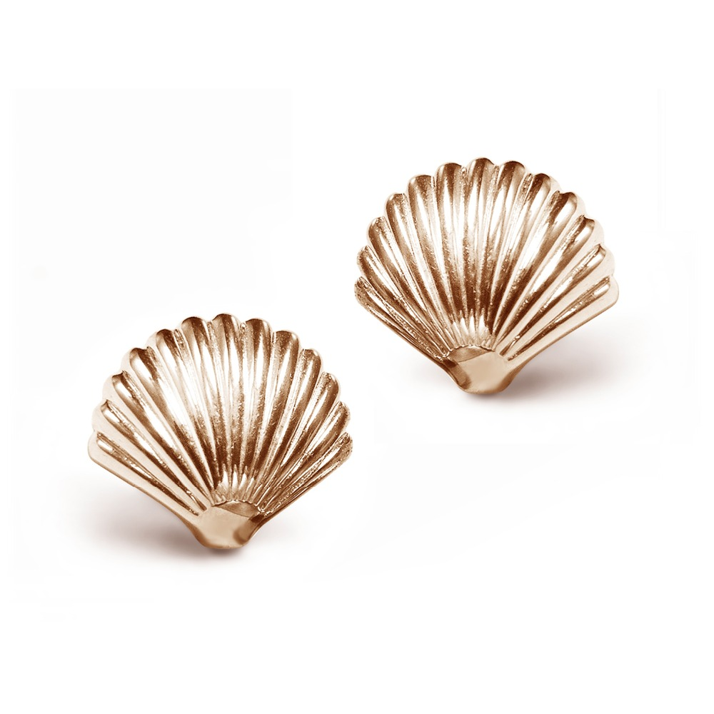 seashell ocean beach and shell earrings mermaid stud pin