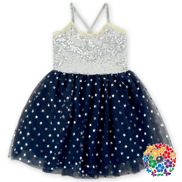 Neueste Design Kleid Silber Pailletten Pricess Kleid Baby-Party Wear Kleid
