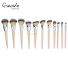 New design wood handle makeup tool kit professional cosmetic brushes
