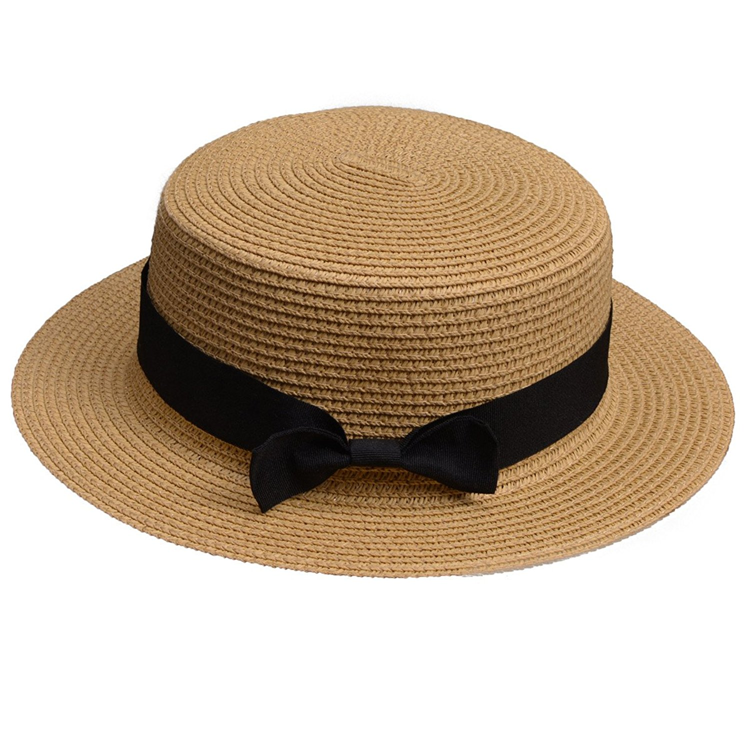 05073c7175344 Get Quotations · Lawliet Womens Straw Boater Hat Fedora Panama Flat Top  Ribbon Summer A456