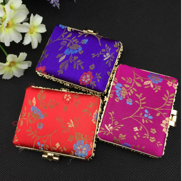 Custom Square Cloth Mirror Double Sided Folding Makeup Pocket Mirrors