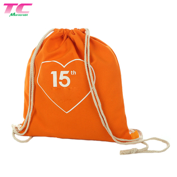 Backpack Style Custom Cotton Canvas Dust Draw String Bag Gym Sports Drawstring Bags