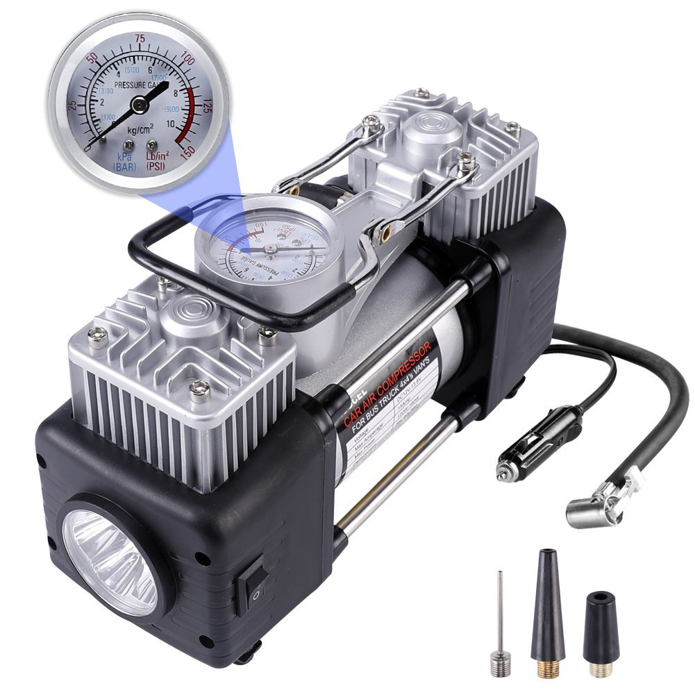 RUGCEL WINCH Dual Cylinder Air Compressor Pump, Heavy Duty Portable Air Pump, Auto 12V Tire Inflator for Car, Truck, RV, Bicycle and Other Inflatables