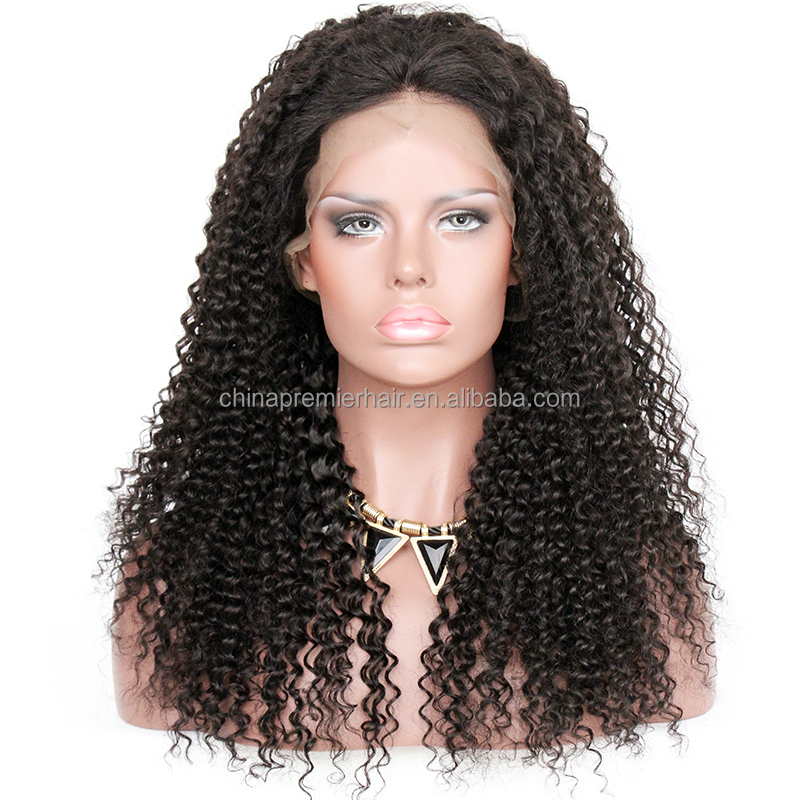 Kinky Curly Mongolian Virgin Hair 100% Human Hair Full Lace Wig with Pre Plucked Hairline