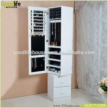 Floor Free Standing Rotating Mirror Jewelry Storage Cabinet - Buy ...