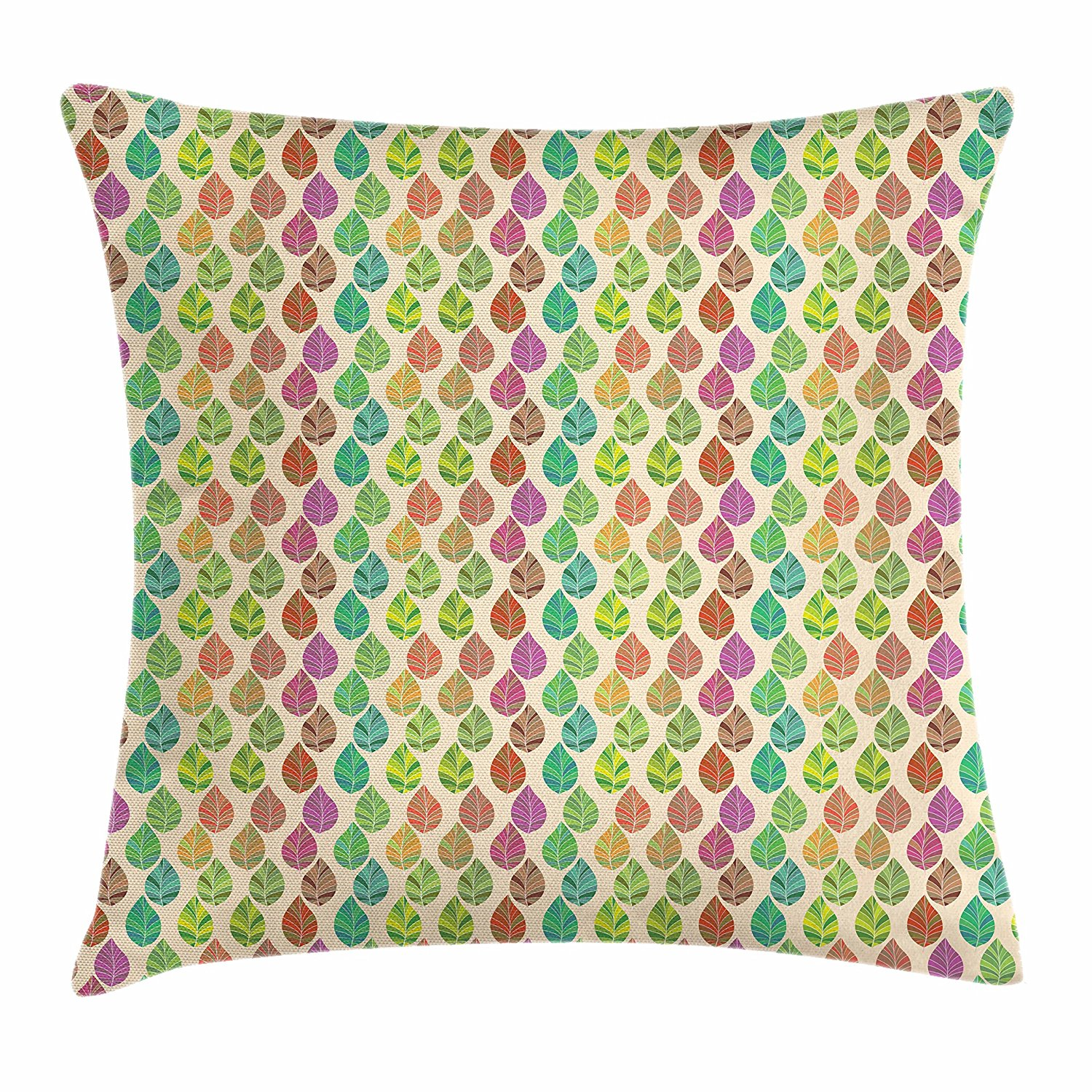 Ambesonne Leaves Throw Pillow Cushion Cover, Exotic Summer Season Nature Pattern Botanical Foliage Leaves Abstract Illustration, Decorative Square Accent Pillow Case, 24 X 24 Inches, Multicolor